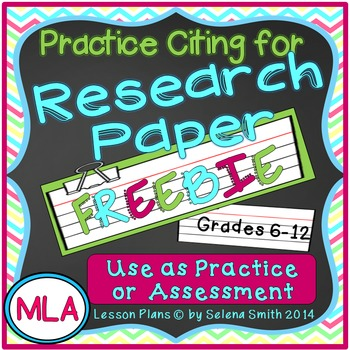 Research Paper Citing Practice Freebie - MLA