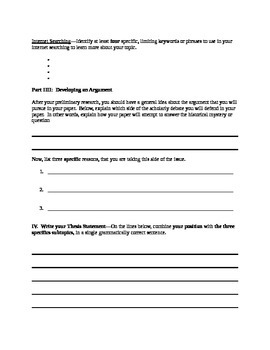 Research Paper--Preliminary Research Worksheet