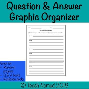 Research Paper (Question & Answer) Graphic Organizer