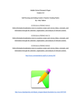 Research Paper Self-Assessment and Teacher Grading Checklist