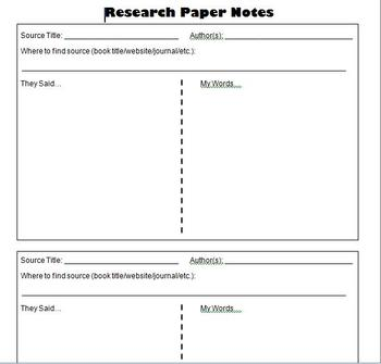 Research Paper Student Notes Template