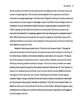 Research Paper -- The Fall of the House of Usher -- Literary Analysis