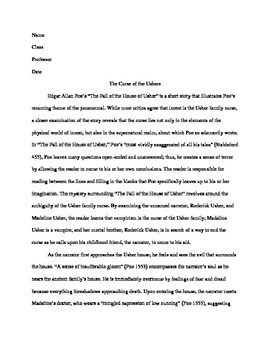 Research Paper -- The Fall of the House of Usher -- Litera