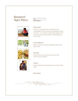 Research Paper Topic Menu