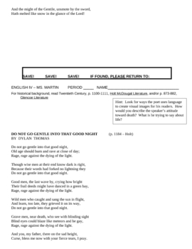 Research Paper - Typed Poems - British Literature