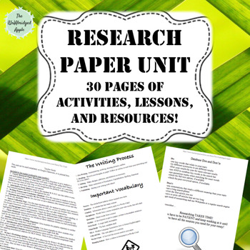 Research Paper Unit (30 pages of activities, practice, and resources!)