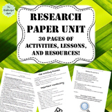 Research Paper Unit Bundle (30 pages of activities, practice, and resources!)