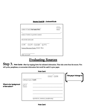 Research Paper practice worksheets