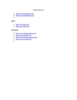Research Paper:Helpful Websites