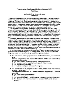 Research-Paraphrasing, Quoting, In-Text Citations