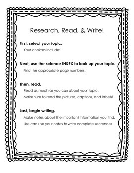 Research, Plan, & Write! (Poster & Planning Page)