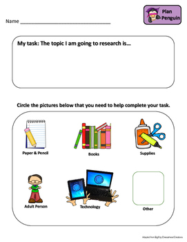 Research Planning Packet & Mini-lessons for Primary Grades