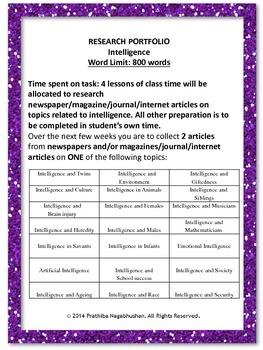 Psychology: Research Portfolio: Intelligence