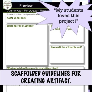 Artifact Project for Social Studies and More EDITABLE Recently Updated
