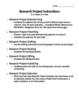 Research Project For Any Topic (SL.3.4 Report on a Topic)