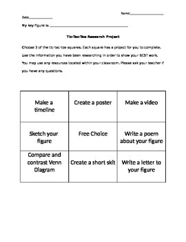 Editable Research Project Organizer- Tic Tac Toe choice board
