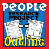 Research Paper Outline [Template]- People Research Outline w/ Bookmarks!