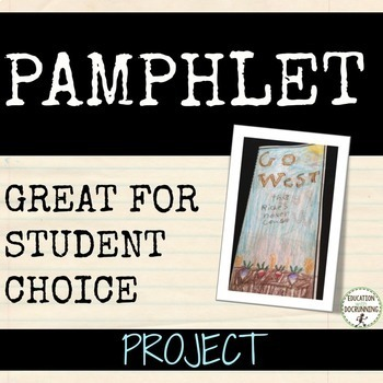Pamphlet Research Project for social studies and more...
