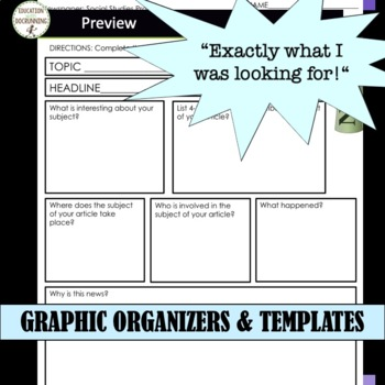 Newspaper Research Project for Social Studies with EDITABLE Rubric UPDATED