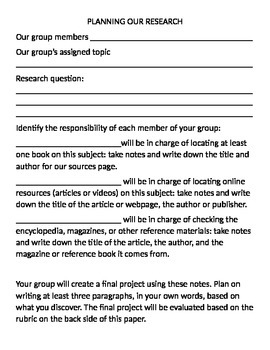 Research Project Planning Sheet