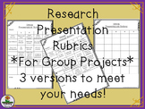 Research Project Rubrics for Group Presentations - 3 versions