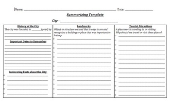 Research Project Summarizing Template - City