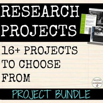 End of Year Project Bundle for any subject with EDITABLE Rubrics