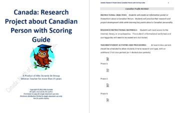 Research Project about Canadian Person with Scoring Guide