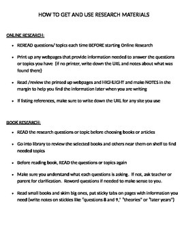 Research Project grade 3-12 organization checklist breakdown