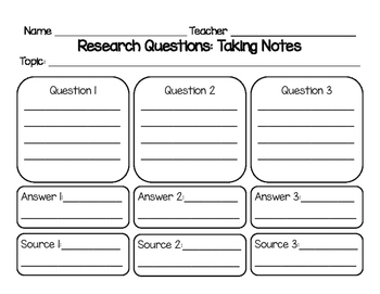 Research Questions: Taking Notes