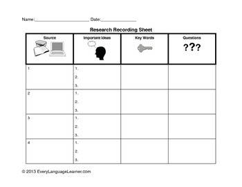 Research Recording Sheet