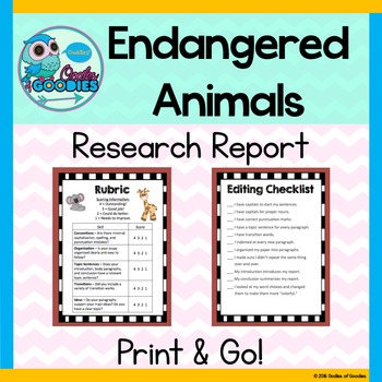 Research Report - Endangered Animals (No Prep)