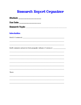 Research Report: Graphic Organizer