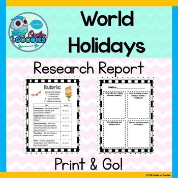 Research Report - Holidays Around the World (No Prep)
