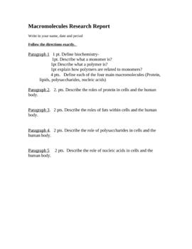 Research Report Macromolecules