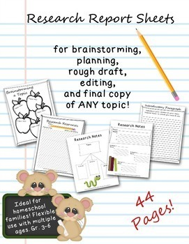 Research Report Note Sheets, Planner, and Graphic Organizer