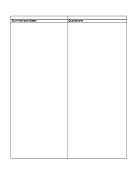Research Report Note-taking Sheet