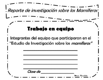 Research Reporte de Investigacion de los Animales Bilingual Stars Mrs Partida