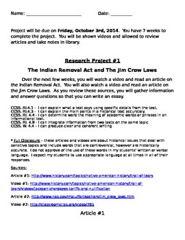 Research Simulation Task Project on Jim Crow Laws and Trail of Tears