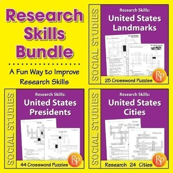 Research Skills: United States Facts Crossword Puzzles {Bundle}