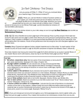 Research Skills: MLA In-Text Citations and Practice Worksheet by ...