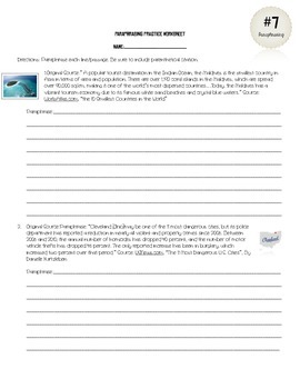 Research Skills: Paraphrasing and Practice Worksheet