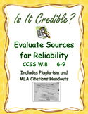 Credibility Evaluation Chart, Glossary, Avoiding Plagiarism,  Citation CCSS W.8