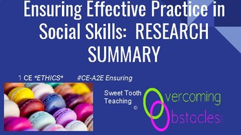 Research Summary - Choosing Effective Practices BCBA ACE CE/Training