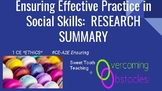 Research Summary - Choosing Effective Practices BCBA ACE C
