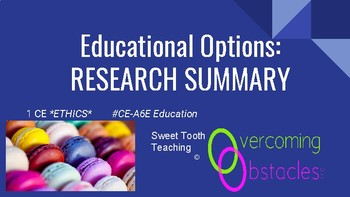 Research Summary - Educational Options BCBA ACE CE/Training