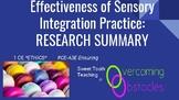 Research Summary - Sensory Integration BCBA ACE CE/Training