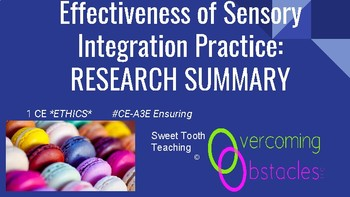Research Summary - Sensory Integration BCBA ACE CE/Training