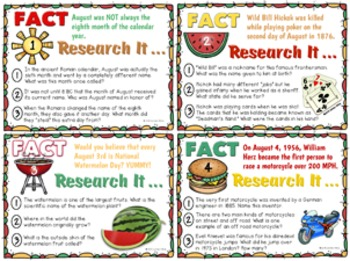 Research Task Cards for August