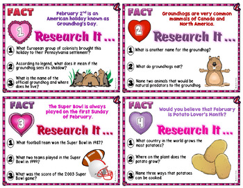 Research Task Cards for February